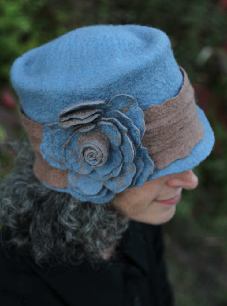 Blue and Brown Felt hat