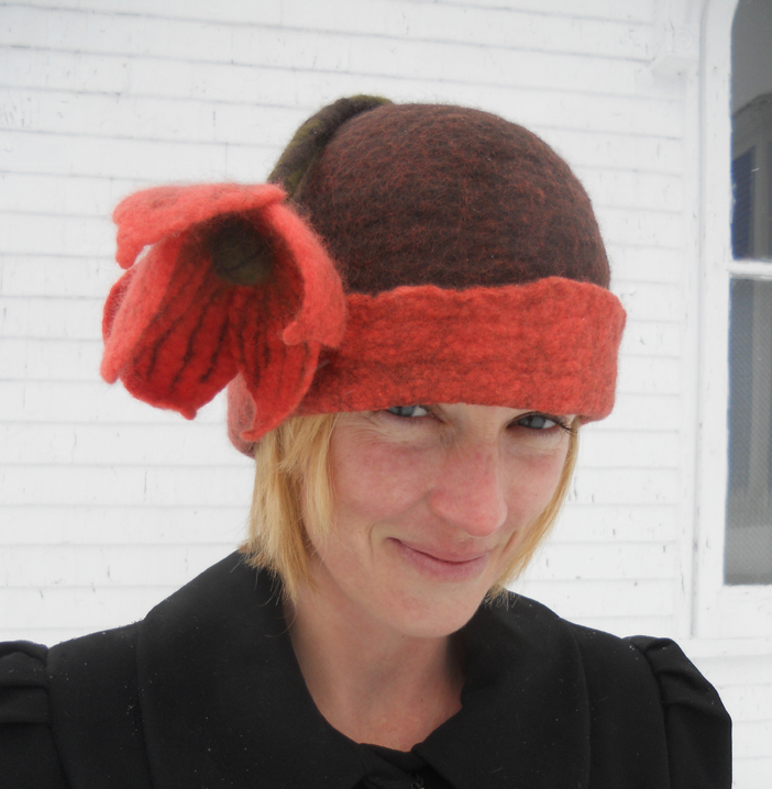 Chocolate and Coral Flower Hat