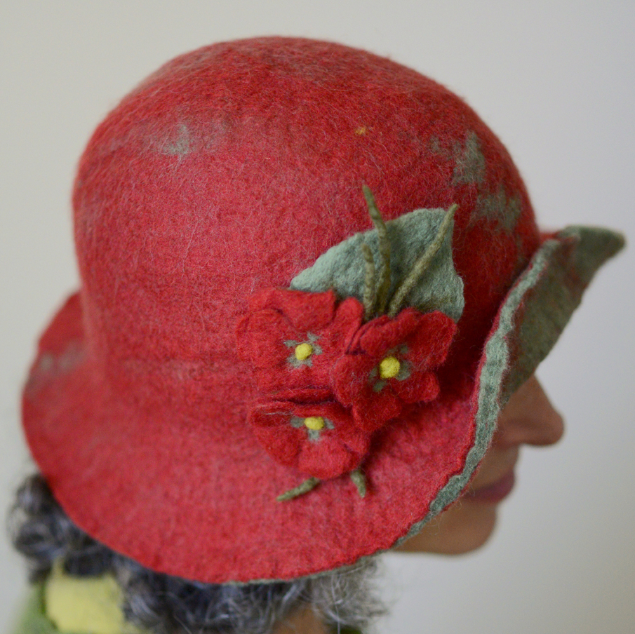 Red and Green felt Cloche