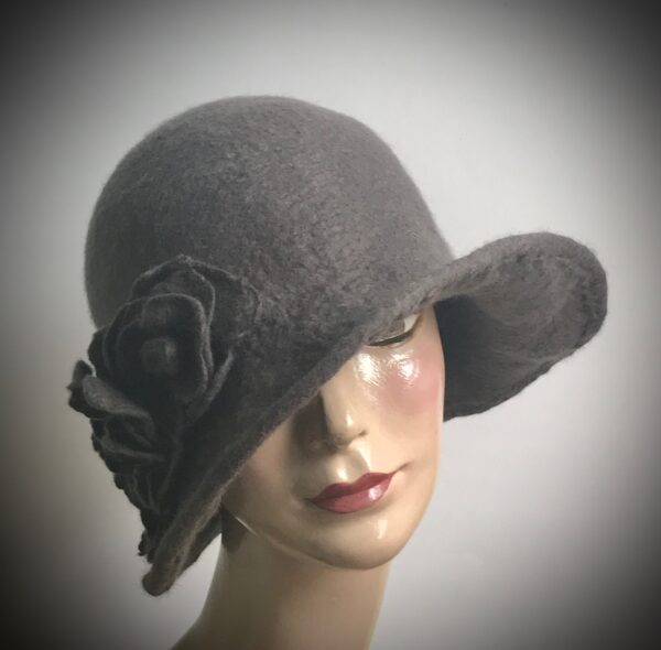 grey felt ladies hat
